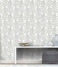 Position Natur Farn Tapete weiß und silber mit Glitter in TNT Effekt Stoff waschbar Italian Wallpaper Design Central Park 5953–10.