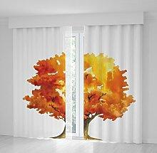 Positive Home Colorful Tree Leaves Fun Design mit Orange Gelb Blau Grün Artistic Print Vorhang, Polyester, Multi7, 114wide X 94long Inch