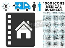 "Poster-Bild 120 x 90 cm: ""Realty Catalog icon with 1000 medical commercial gray and blue vector pictographs. Design style is flat bicolor symbols, white b"", Bild auf Poster"
