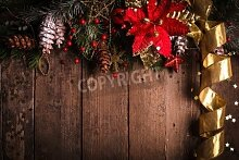 "Poster-Bild 80 x 50 cm: """"Christmas border design with red and gold baubles"""", Bild auf Poster"