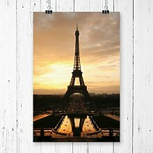 Poster Eiffelturm Paris Frankreich, Grafikdruck