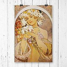 """Poster """"Flower Girl"""" von Alphonse Mucha,"""
