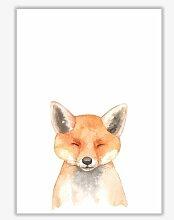 Poster Fuchs im Wald East Urban Home Format: Kein