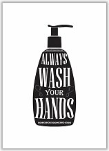 Poster Wash Your Hands East Urban Home Format: