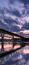 posterdepot Türtapete Türposter Brücke am Abend in Südostengland - Tamar Bridge - Größe 93 x 205 cm, 1 Stück, ktt0757