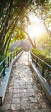 posterdepot Türtapete Türposter Brücke im Garten bei Sonnenschein - Größe 93 x 205 cm, 1 Stück, ktt0550