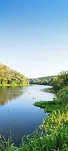 posterdepot Türtapete Türposter Fluss mit Spiegelungen bei Sonnenuntergang - Größe 93 x 205 cm, 1 Stück, ktt0633