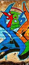 posterdepot Türtapete Türposter Graffiti 186 – Wand mit verschiedenen Tags - Größe 93 x 205 cm, 1 Stück, ktt0204