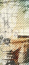 posterdepot Türtapete Türposter Grunge Stil, Streifen Schrift und Muster - Größe 93 x 205 cm, 1 Stück, ktt0511