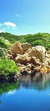 posterdepot Türtapete Türposter Kleiner See im Dschungel der Seychellen mit Granitformation - Größe 93 x 205 cm, 1 Stück, ktt0656