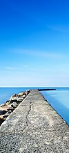 posterdepot Türtapete Türposter Pier am blauen Ozean mit blauem Himmel - Größe 93 x 205 cm, 1 Stück, ktt0645