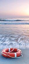 posterdepot Türtapete Türposter Rettungsring am Strand bei Sonnenuntergang - Größe 93 x 205 cm, 1 Stück, ktt0507
