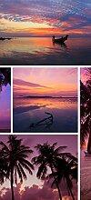posterdepot Türtapete Türposter Tropischer Sonnenuntergang - Collage - Größe 93 x 205 cm, 1 Stück, ktt0637