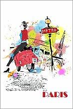 Postereck - Poster 0753 - Paris, Zeichnung Roller