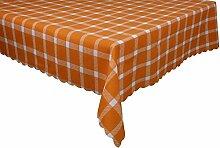 Postero Elegant Zeitgenössische Tischdecke für jede Gelegenheit: Küche, Wohnzimmer, Garten, Kaffee oder Geburtstag (O513) Orange/Weiß 140X210cm
