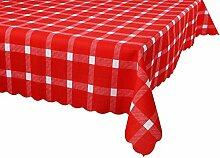 Postero Elegant Zeitgenössische Tischdecke für jede Gelegenheit: Küche, Wohnzimmer, Garten, Kaffee oder Geburtstag (O516) Rot/Weiß 140X190cm
