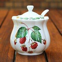 Pot à confiture et cuillère-Framboise