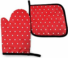 Pot Holders And Oven Mitts,Weiße Punkte Roter