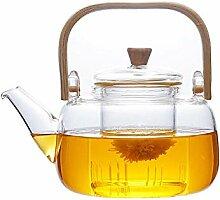 POTOLL Teekanne mit Sieb Glaskessel, Bambusgriff,