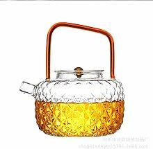 POTOLL Teekanne mit Sieb Glasteekanne Peng Silicon