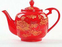 POTOLL Teekanne mit Sieb Handgemachte rote Tee-Set