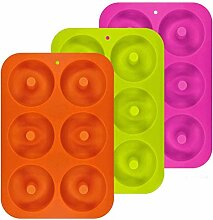 Poualss 3er Pack Silikon Donut Formen, 6 Cavity