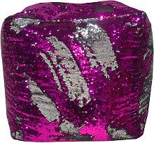 POUF Silberfarben, Pink