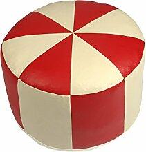 Pouf Sitzwürfel Sitzhocker Hocker Tabouret Möbelhocker Rund Kunstleder rot/champagner Ø 50/34 cm