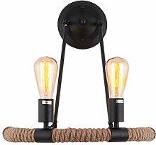 Pouluuo Wandlampe LED Hanfseil Lampe Dekoration