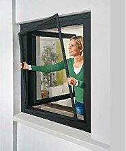 POWERFIX Alu Insektenschutz Fenster, 130 x 150 cm Anthrazi