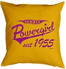 Powergirl seit 1955 : Kissen mit Füllung - Witziges Zusatzkissen, Kuschelkissen, 40x40 als Geschenkidee. Gelb
