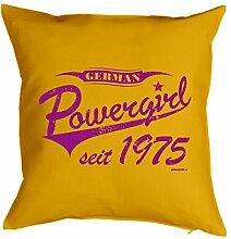 Powergirl seit 1975 : Kissen mit Füllung - Witziges Zusatzkissen, Kuschelkissen, 40x40 als Geschenkidee. Gelb