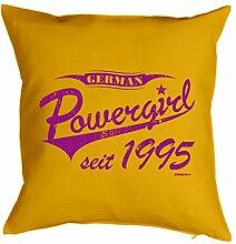 Powergirl seit 1995 : Kissen mit Füllung - Witziges Zusatzkissen, Kuschelkissen, 40x40 als Geschenkidee. Gelb