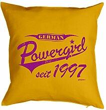Powergirl seit 1997 : Kissen mit Füllung - Witziges Zusatzkissen, Kuschelkissen, 40x40 als Geschenkidee. Gelb