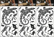 PP TATTOO 3 Blatt Lizard Gekko Salamander Fantasy