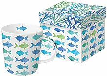 PPD Aquarell Fishes Trend Kaffeebecher,