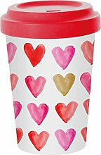 PPD Aquarell Hearts Gold Bamboo Coffee-To-Go