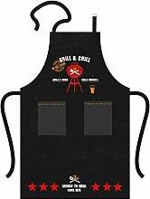PPD Grill & Chill Black Küchenschürze, Küchen Schürze, Baumwolle, Schwarz / Bunt, 1522052