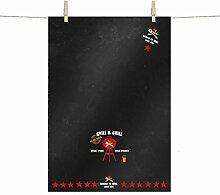 PPD Grill & Chill Black Küchentuch, Küchen Tuch, Geschirrtuch, Baumwolle, Schwarz / Bunt, 68 x 48 cm, 1512052