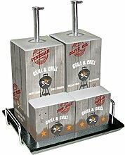 PPD Grill & Chill Menage, Essig- Ölspender, Salz-Pfefferstreuer, Porzellan, Grau / Bunt, 300 ml, 602776