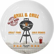 PPD Grill & Chill Speiseteller, Teller, Essteller, Porzellan, Weiß / Bunt, 27 cm, 602774
