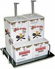 PPD License To Grill Menage, Essig- Ölspender, Salz-Pfefferstreuer, Porzellan, Weiß / Bunt, 300 ml, 602532