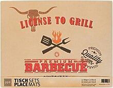 PPD License To Grill Platzsets, Papier Tisch Set, Deckchen, 1, 2er Set, Kraftpapier, Braun / Bunt, 42 x 32 cm, 7922