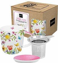 PPD Spring Bird Teebecher mit Sieb und Deckel, Tee