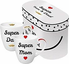 PPD Super Mom & Dad Real Gold Henkelbecher, 2er