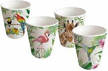PPD Tropical Bamboo Becherglas, 4er Set, Becher Glas, Trinkglas, Partybecher, Bambus, Mehrfarbig, 400 ml, 603349