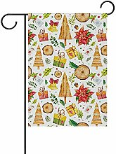 PQU Awesome Garden Flag,Aquarell Frohe Weihnachten