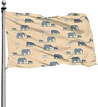 PQU Awesome House Yard Flag,Elefanten Garten