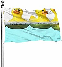 PQU Awesome House Yard Flags,Gelbe Ente In Den