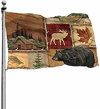 PQU Awesome Outdoor Garden Flag,Rustikale Lodge